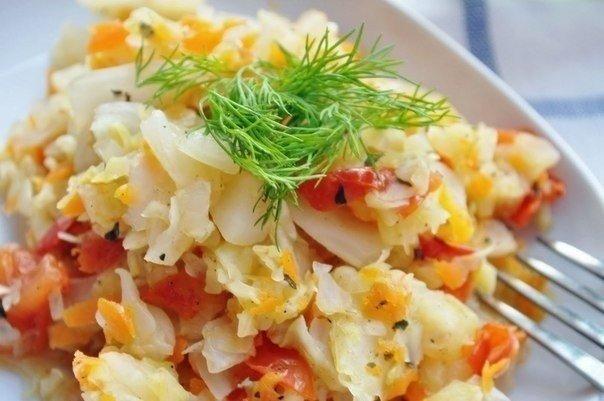 Тушеная капуста с овощами — 0% жира